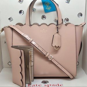 KATE♠️SPADE SMALL MINA + WALLET WARM VELLUM PINK